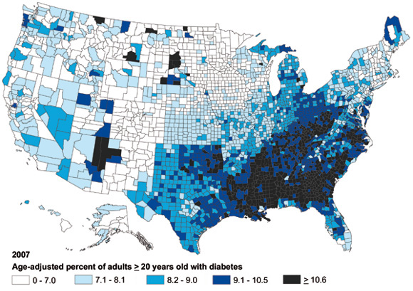 Mapping US Obesity Diabetes And Changes In Life Expectancy - Diabetics map us